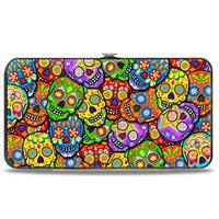 Colorful Calaveras Stacked Multi Color Hinged Wallet - One Size Fits most