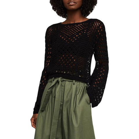 BCBG Max Azria Womens Open Work Pullover Sweater Crochet Long Sleeves - S