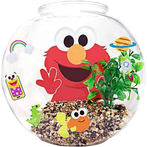Penn-Plax Officially Licensed Sesame Street Elmo's World Fish Bowl Kit - Great Way To Teach Young Beginners - 1.2 Gallon