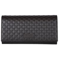Gucci Women's 449396 Brown Leather Micro GG Continental Bifold Wallet