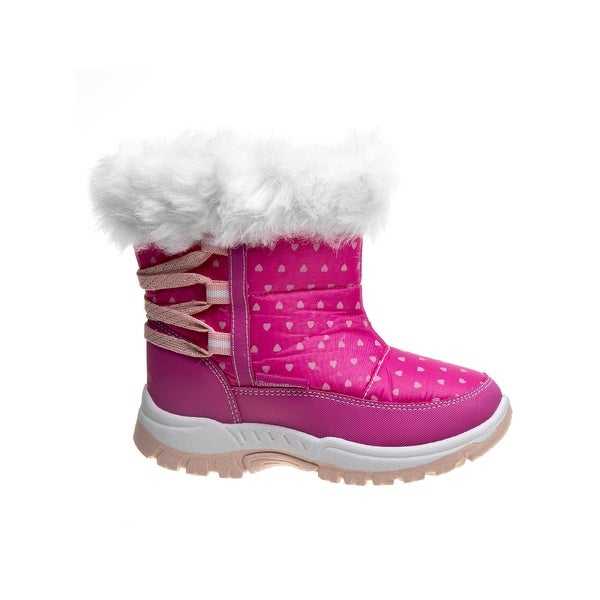 Kids Rugged Bear Girls Heart Print Snow Boots