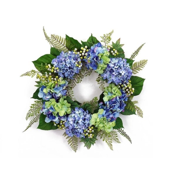 """25"""" Blossoming Spring and Summer Blue Hydrangeas Wreath with Greenery - Unlit"""