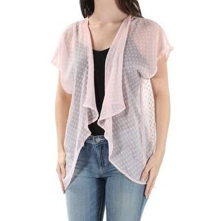 INC Womens New 1177 Pink Open Cardigan Short Sleeve Casual Top 0 B+B