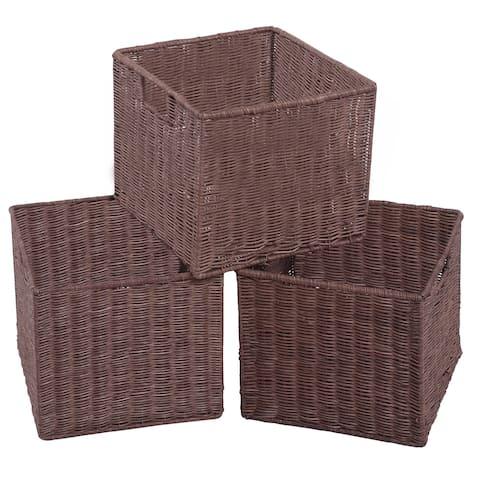 Gymax Set of 3 Wicker Rattan Storage Baskets Nest Nesting Cube Bin Box - as pic
