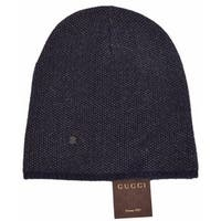 2611df8ee Gucci 352350 Men s Blue Beige Wool Cashmere Beanie Ski Winter Hat MEDIUM
