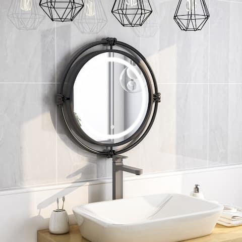Furniture of America Perismore Industrial Black Round Wall Mirror