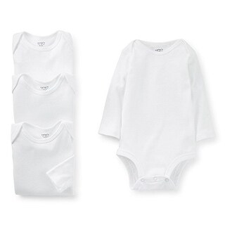 Carter's Unisex Baby 4 Pack Long Sleeve Bodysuits - White- 9 Months