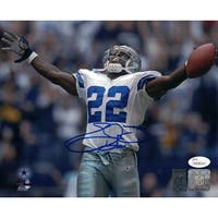 Emmitt Smith Autographed Dallas Cowboys 8x10 Photo Arms Up in Blue JSA