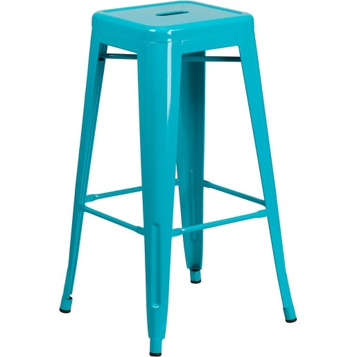 Brimmes 30'' High Backless Crystal Teal-Blue Indoor/Outdoor/Patio/Bar Barstool w/Square Seat