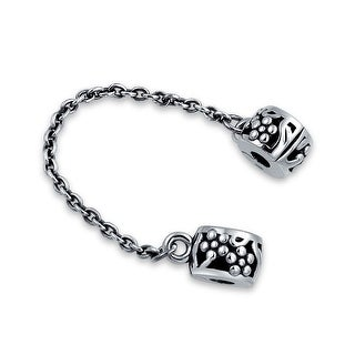 Bling Jewelry Floral Safety Chain Clasp Stopper Bead Charm .925 Sterling Silver