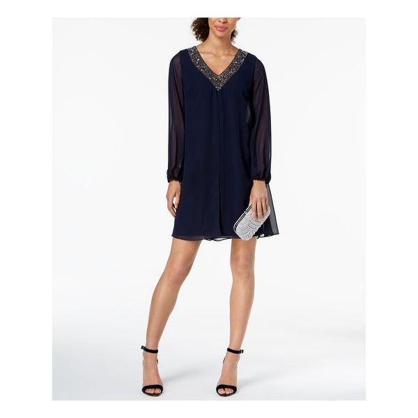 BETSY & ADAM Navy Long Sleeve Above The Knee Shift Dress Size 4. Opens flyout.