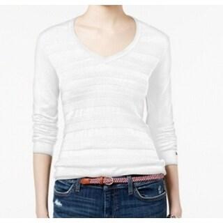 Tommy Hilfiger NEW White Women's Size XL V-Neck Long Sleeve Sweater