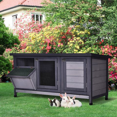 PawHut Wooden Outdoor Bunny Hutch with 2 Large Customizable Run Areas and a Cozy Main House, Feeding Trough, Grey