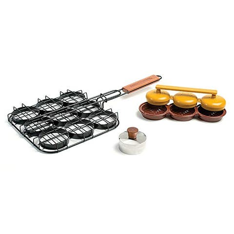 "Charcoal Companion Deluxe Mini Burger ""Sliders"" Grilling Set - Black"