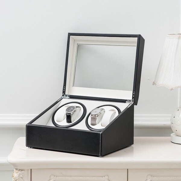 Leather 4 6 Watchs Winder Storage Automatic Rotation Display Case Box. Opens flyout.