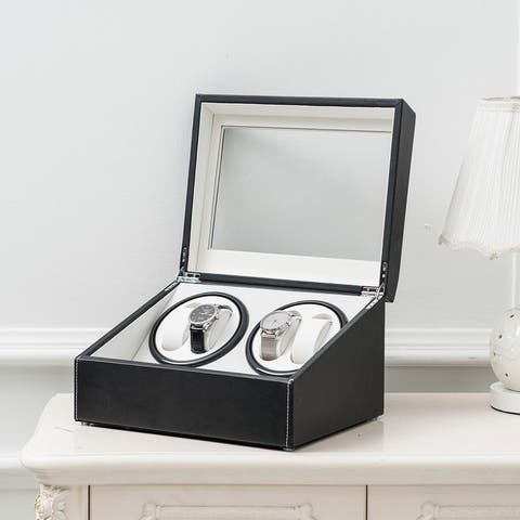 Leather 4 6 Watchs Winder Storage Automatic Rotation Display Case Box