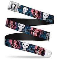 Marvel Universe Punisher Logo Full Color Black White Frank Castle Kissing Seatbelt Belt
