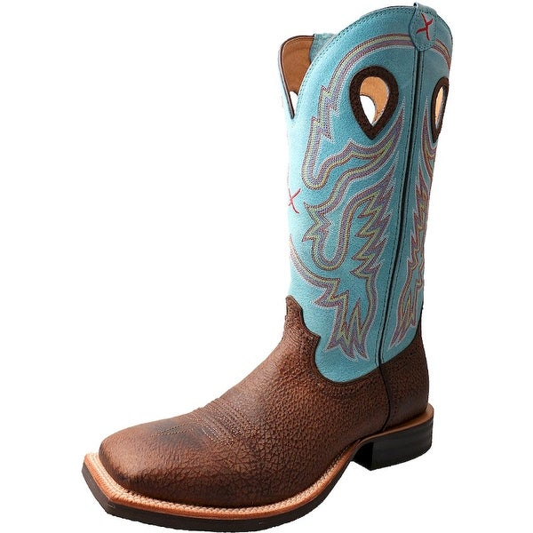 Twisted X Western Boots Mens Ruff Stock Square Brown Blue