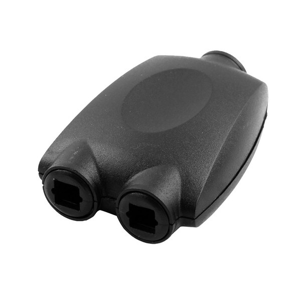 Fiber Optic 1 in 2 Out Digital Jack Audio Splitter Adaptor Duplicator Black