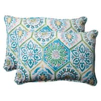 """Set of 2 Psychedelic Blue Outdoor Patio Corded Rectangular Throw Pillows 18.5"""""""