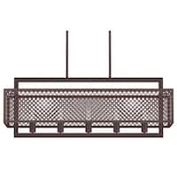"Park Harbor PHPL5685 Sunderland 40"" Wide 5 Light Chandelier with Patterned Metal Frame"