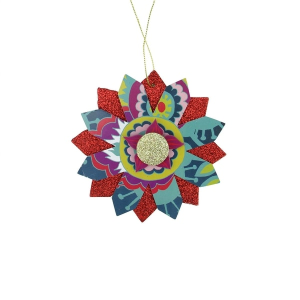 Bohemian Holiday Colorful Floral Layered Gold and Red Glittered Snowflake Christmas Ornament 5""