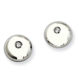 Chisel Stainless Steel Polished with CZ Round Post Earrings