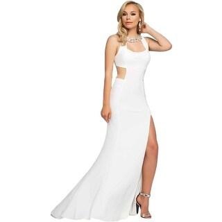 Mac Duggal Womens Rhinestone Mesh Inset Formal Dress
