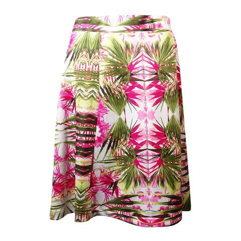 INC International Concepts Women's Palm Tree Print Ponte Skirt - Pink Multi - 3X