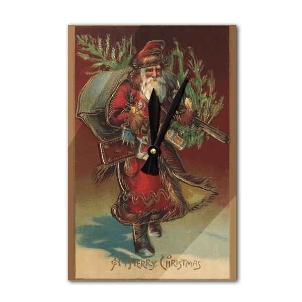 Christmas Greeting Santa & Gifts Vintage Holiday (Acrylic Wall Clock) - acrylic wall clock