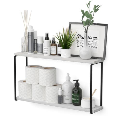"Wallniture Porto 2 Tier Wall Shelf, Bathroom Organizer, 24x4.5"", White"