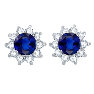 Link to Sterling Silver Blue Sapphire, White Topaz Flower Stud Earring Similar Items in Earrings