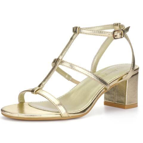 Women Open Toe T-Strap Mid Block Heel Sandals