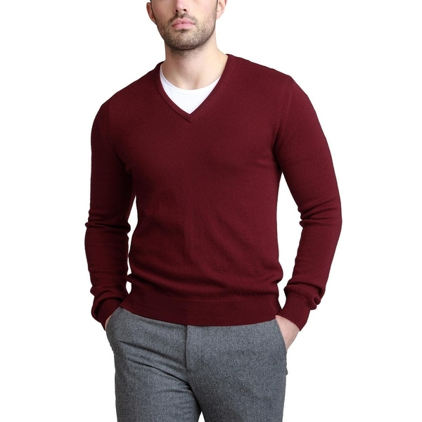 632eb029 Bloomingdales Mens Pure Cashmere V-Neck Sweater Small S Black Cherry  Knitwear