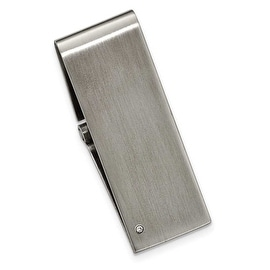Chisel Diamond and Brushed Stainless Steel Hinged Money Clip