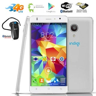 "Indigi GSM UNLOCKED 4G LTE Smart Phone Android 6.0 2Sim 4Core 5.0"" LCD + BH320 Bundle - White"