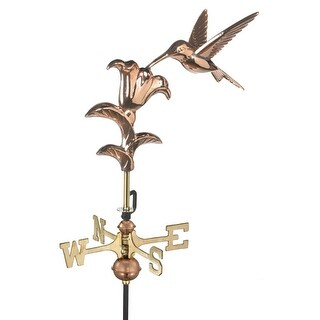 "21"" Handcrafted Polished Copper Feeding Hummingbird Outdoor Weathervane with Garden Pole"