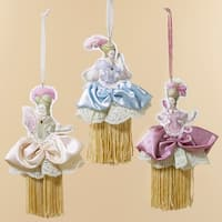 "Club Pack of 12 Victorian Felt French Lady Tassel Christmas Ornaments 8"" - multi"