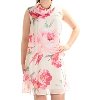 Womens White Sleeveless Above The Knee Shift Casual Dress Size: 8