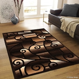 "AllStar Rugs Black Abstract Modern Area Carpet Rug (7' 10"" x 10' 2"")"