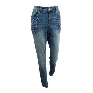 Inc International Concepts Women's Embroidered Skinny Jeans (6, Indigo) - Indigo - 6