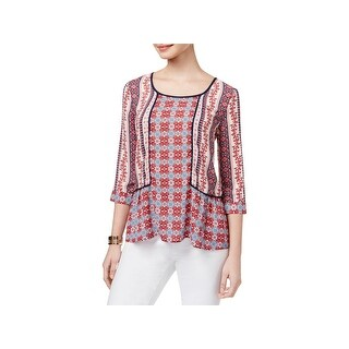 NY Collection Womens Petites Blouse Printed Flounce Hem