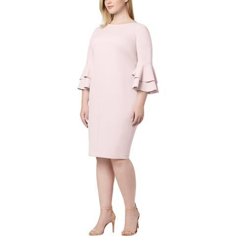 Calvin Klein Womens Plus Wear to Work Dress Tiered Bell Sleeves