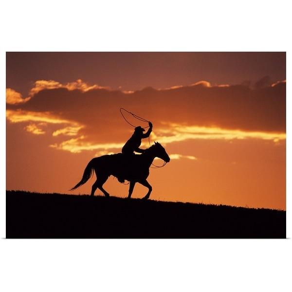 """Silhouette of cowboy on horseback near Fairplay, Colorado"" Poster Print"