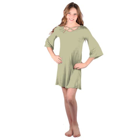Lori Jane Light Olive Green Crisscross Trendy Dress Big Girls