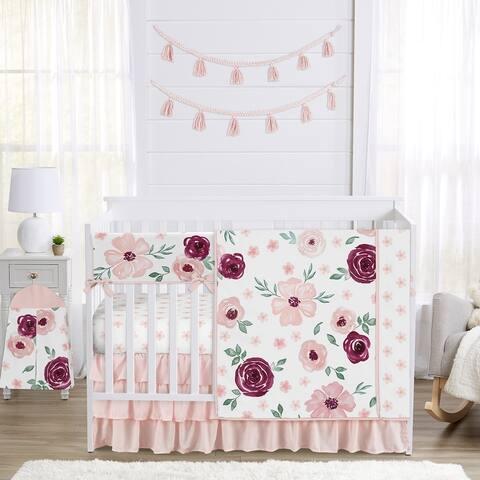 Burgundy Pink Watercolor Floral Girl 5pc Nursery Crib Bedding Set - Blush Maroon Wine Rose Green Shabby Chic Flower Farmhouse