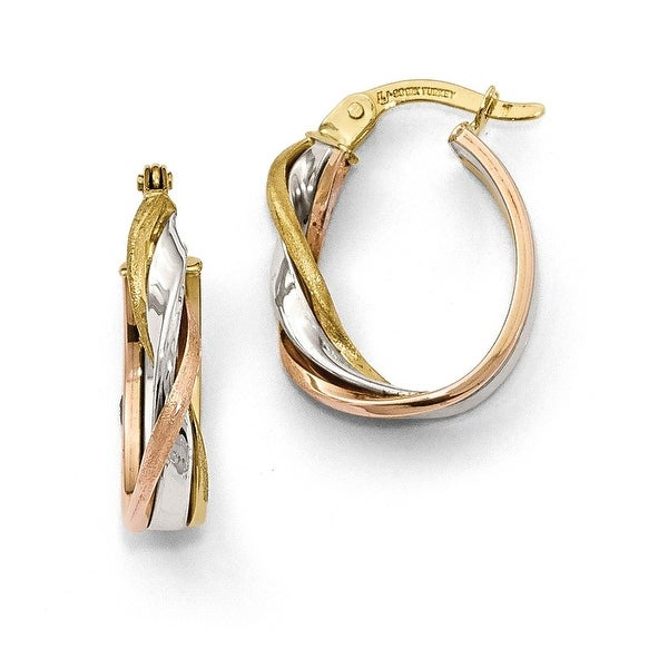 10k Tri-Color Gold Earrings