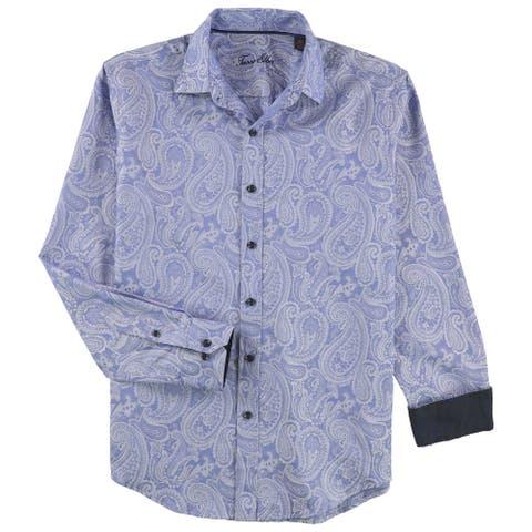 Tasso Elba Mens Paisley Button Up Shirt, Blue, Small