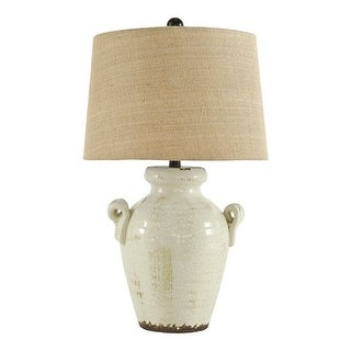 Link to Ceramic Table Lamp with Vase Shaped Body and Fabric Shade, White and Beige Similar Items in Table Lamps