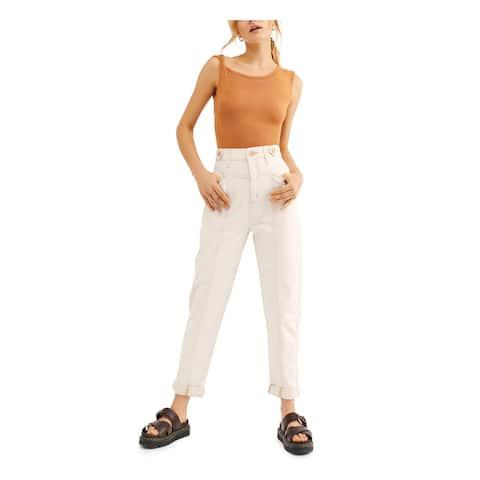 FREE PEOPLE Womens Beige Ankle Cut Straight leg Jeans Size 27